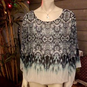 Alfani Abstract Ombre Printed Batwing Top XL